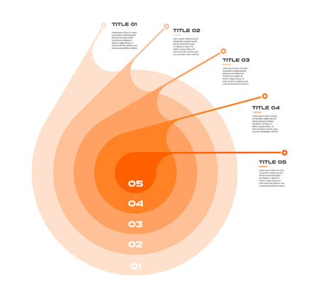Concentric infographics step by step in a series of circle. Element of chart, graph, diagram with 5 options. Illustration