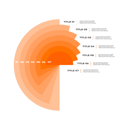 Concentric infographics step by step in a series of circle. Element of chart, graph, diagram with 7 options, parts, processes. Vector business template for presentation