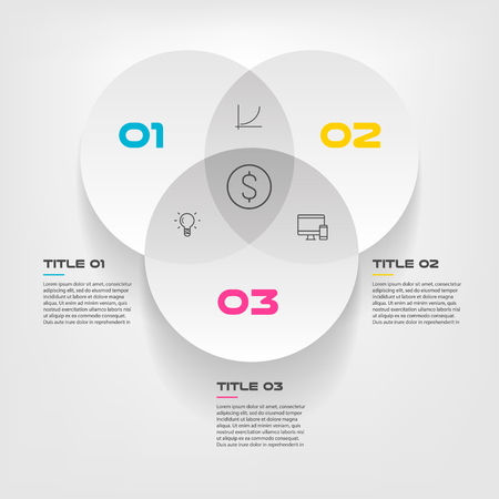 Venn diagram infographics for three circle design vector and marketing can be used for workflow layout, annual report, web design. Business concept with steps or processes