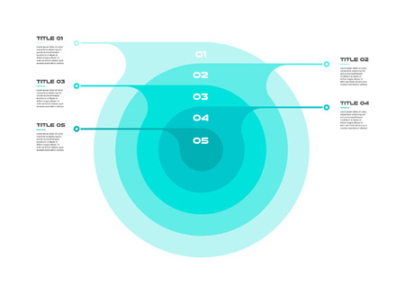 Concentric infographics step by step in a series of circle. Element of chart, graph, diagram with 5 options, 20, 40, 60, 80, 100 percent, parts, processes vector business template for presentation.