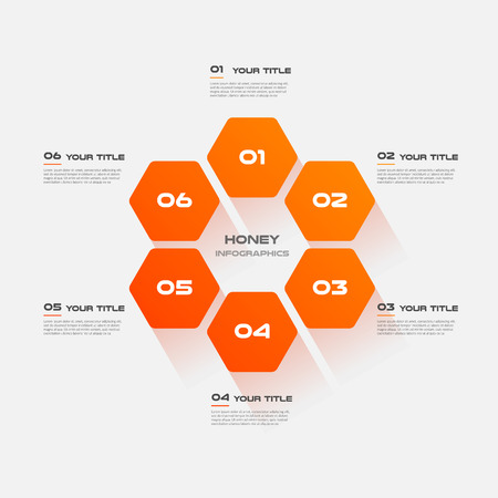 Honeycombs, gradient infographics step by step. Element of chart, graph, diagram with 6 options - parts, processes, timelines. Vector business template for presentation.Abstract background