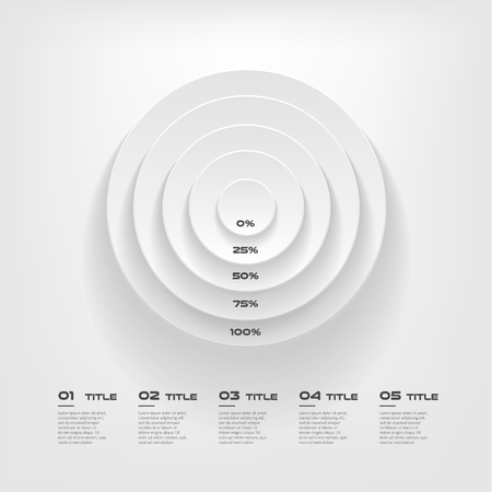 Concentrate chart, color infographics step by step in a series of circle. Element of chart, graph, diagram with 5 options parts, processes vector business template for presentation.