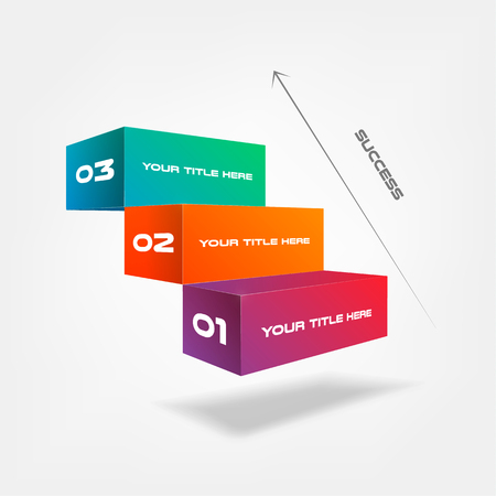 3d blocks, stairs of success, infographics step by step. Element of chart, graph, diagram with 3 options, parts, processes, timeline vector business template for presentation, workflow, web design. 일러스트