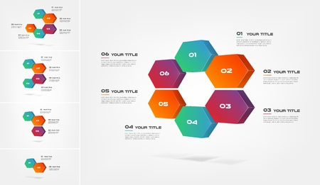 Honeycombs 3d, gradient infographics step by step. Element of chart, graph, diagram with 2-6 options - parts, processes, timelines. Vector business template for presentation, web. Abstract background