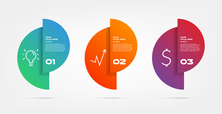 Circle gradient infographics step by step. Element of chart, graph, diagram with 3 options - parts, processes, timelines. Vector business template for presentation, banners. Abstract form.
