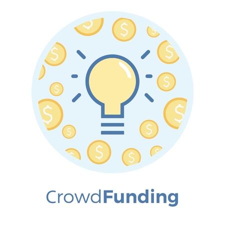 Crowdfunding vector flat illustration. Idea of sharing and donating money. Illustration