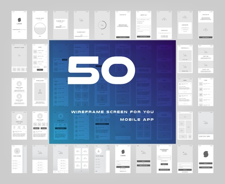 50 in 1 UI kits. Wire frames screens for your mobile app. GUI template on the topic of signup login . Development interface with UX design. Vector illustration.