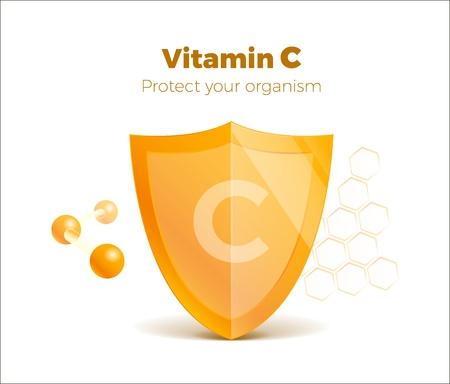 Concetto di vitamina C 3d scudo con molecola, guardia protetta. Scudo adesivo brillante di presentazione. Isolato su bianco. Vettoriali