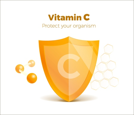 Vitamin C concept 3d shield with molecule, protected guard. Presentation shining sticker shield. Isolated on white. Vectores