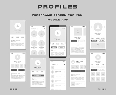 10 in 1 UI kits. Wire frames screens for your mobile app. GUI template on the topic of Profiles . Development interface with UX design.