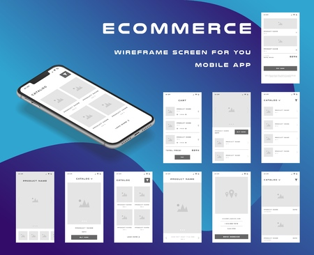 10 in 1 UI kits. Wire frames screens for your mobile app. GUI template on the topic of Portfolio . Ilustrace