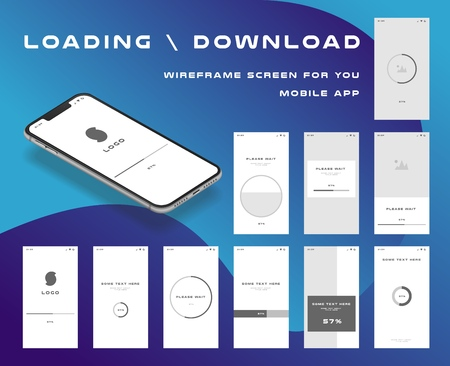 10 in 1 UI kits. Wire frames screens for your mobile app. GUI template on the topic of Portfolio . Development interface with UX design.