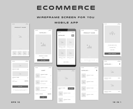 10 in 1 UI kits. Wire frames screens for your mobile app. GUI template on the topic of eCommerce . Ilustrace