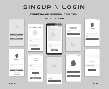 10 in 1 UI kits. Wire frames screens for your mobile app. GUI template on the topic of signup login . Development interface with UX design.