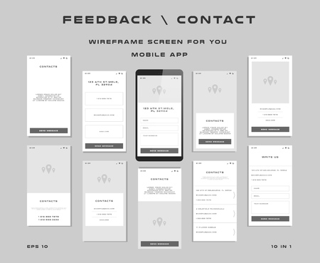 10 in 1 UI kits. Wire frames screens for your mobile app. GUI template on the topic of feedback contact .