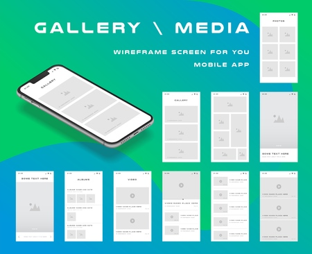 10 in 1 UI kits. Wire frames screens for your mobile app. GUI template on the topic of gallery media . Development interface with UX design. Vector illustration. Ilustrace