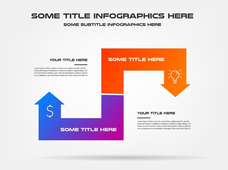 Icons info graphics with arrows. Element of chart, graph, diagram with 2 options - parts, processes, timeline. Vector business template for presentation, workflow layout, annual report