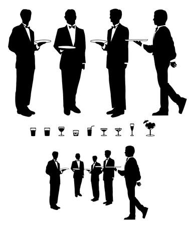 Camarero y Bebidas Gráfico Ilustración de vector