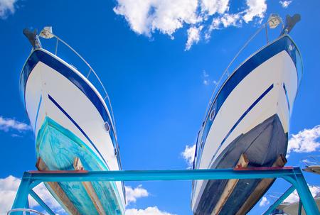 motor boats: Motor boats on shipyard