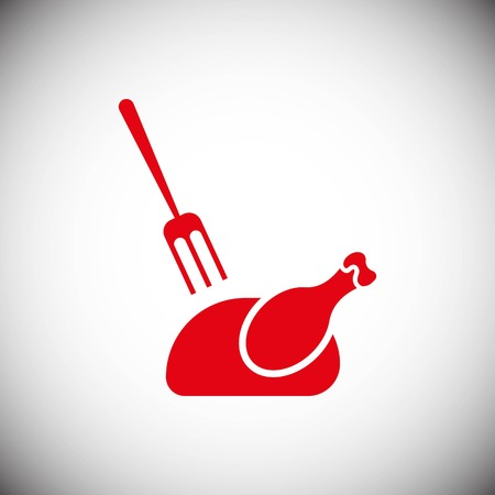 grilled chicken icon stock vector illustration flat design style
