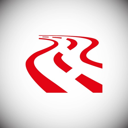 Winding asphalt road with markings leading into the distance on a white background vector icon Illustration