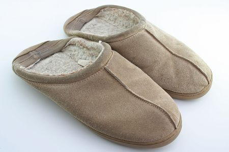 old slippers on white background