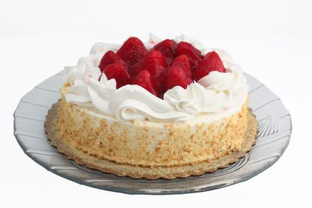 carb: strawberry cake on a white background