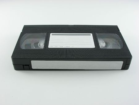 Video tape with labels on a white background Banco de Imagens