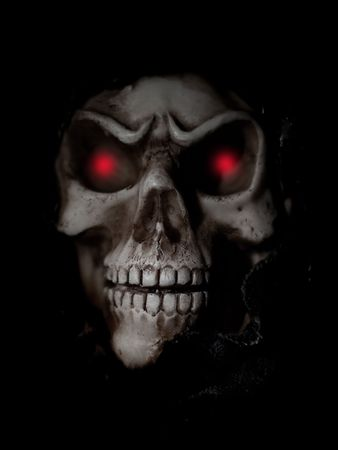 Skull with a black background and shallow DOF Stock Photo