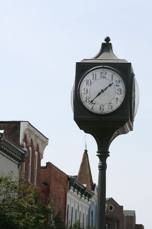 corner clock: Clock located outdoor on the street