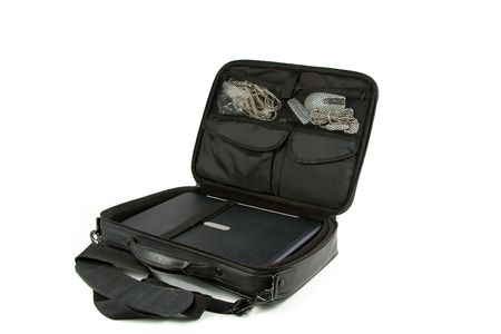 Laptop in a case isolated on a white background photo