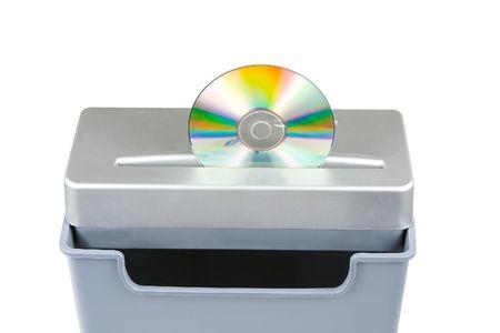 shredding cd media isolated on a white background