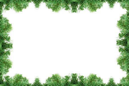 Pine tree frame isolated on a white background Stock Photo