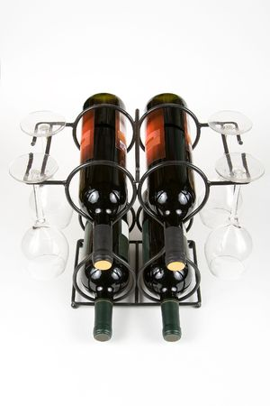 wine and glasses on a rack on a white background Stock Photo - 716300