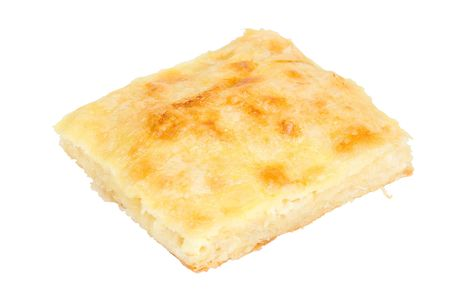 Freshly baked  piece of cheese pie isolated on a white background Stok Fotoğraf - 716294