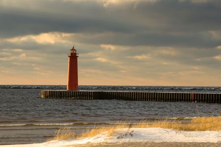 lighthouse  Lake Michigan, Muskegon at winter photo