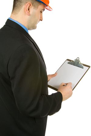 enforcing: engineer taking notes isolated on a white background