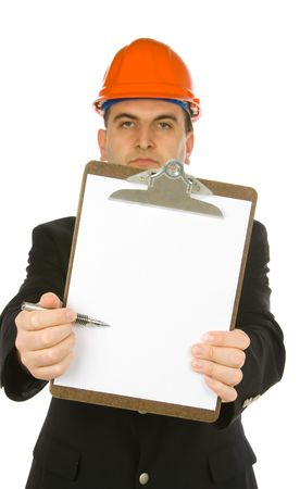 engineer pointing with a pen on a blank paper attached to clipboard