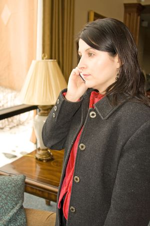 professional business woman talking on the phone photo