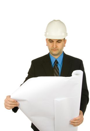 engineer inspecting a drawing isolated on a white background Stok Fotoğraf - 826756