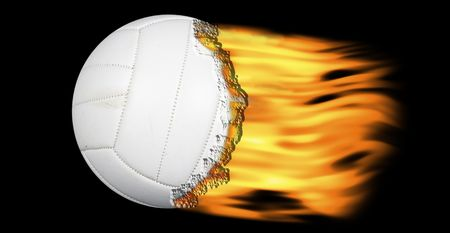 volleyball on fire on a black background Stock Photo