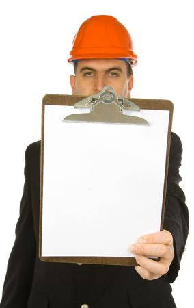 engineer holding clipboard isolated on a white background Imagens