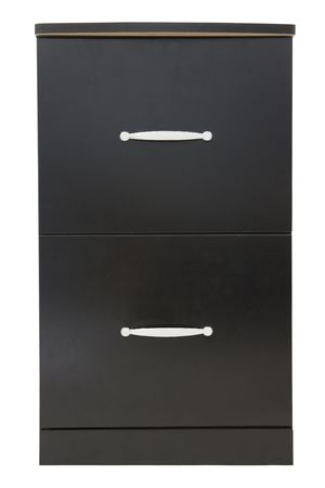 black wooden file cabinet isolated against white background