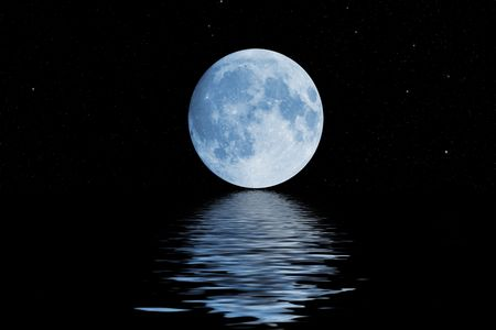 blue moon with stars reflections from wavy water