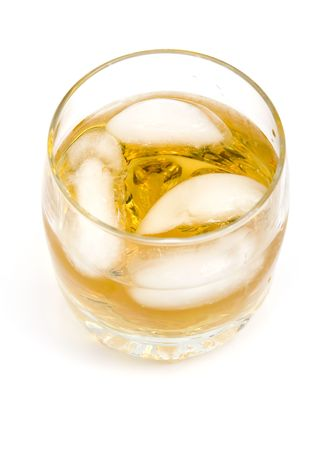 whiskey on a rocks isolated on a white background Banco de Imagens