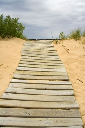 boardwalk trail: wooden path leading to the edge of a cliff