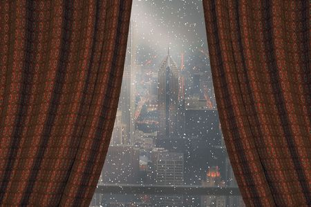 balcony window: view on downtown chicago in a winter night from a hotel room