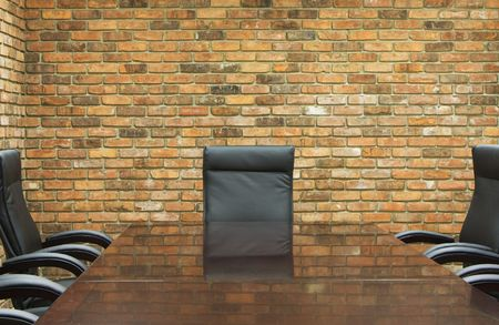 conference room with brick wall Stock Photo