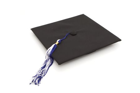 Graduation cap with blue and white tassel isolated against white background Stock Photo