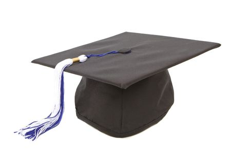 Graduation cap with blue white tassel isolated against white background Stock Photo - 3345309